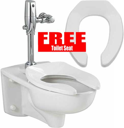 American Standard Afwall 3351101.020 Universal Bowl Only 1.1/1.6GPF with Free Toilet Seat by