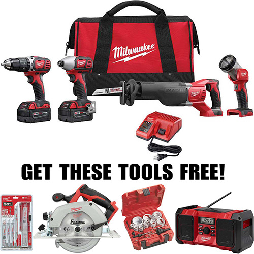 Milwaukee M18 Cordless Buy 2696-24 Tool Kit Get 4 Tools Free!! Special Buy Li-Ion Combo Tool Kit by