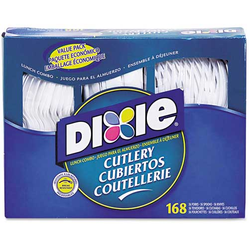 Dixie Foods DXECM168 Cutlery Combo, Forks/Knives/Spoons, Plastic, 168/Box, White by