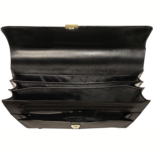 "Bond Street 367061 Leather Executive Briefcase, 15.6"" Computer Case, Black by"