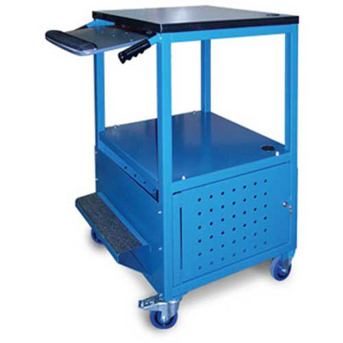 """Stackbin Enclosed Bottom Computer Cart, 30""""W x 24""""D x 40""""H, Blue by"""