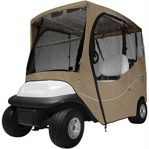 Classic Accessories Fairway Travel Golf Car Enclosure, Short Roof, Khaki 40-045-335801-00 by