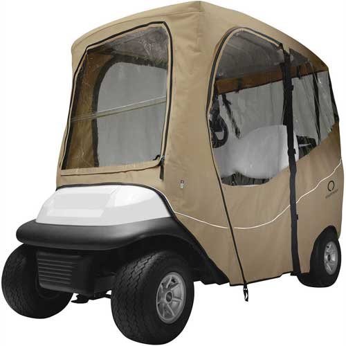 Classic Accessories Fairway Deluxe Golf Car Enclosure, Short Roof, Khaki 40-049-335801-00 by