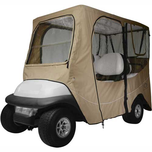 Click here to buy Classic Accessories Fairway Deluxe Golf Car Enclosure, Long Roof, Khaki 40-050-345801-00.