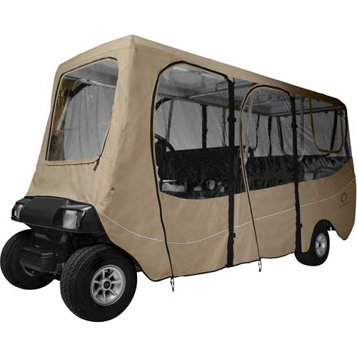 Classic Accessories Fairway Deluxe Golf Car Enclosure, Extra Long Roof, Khaki 40-051-345801-00 by
