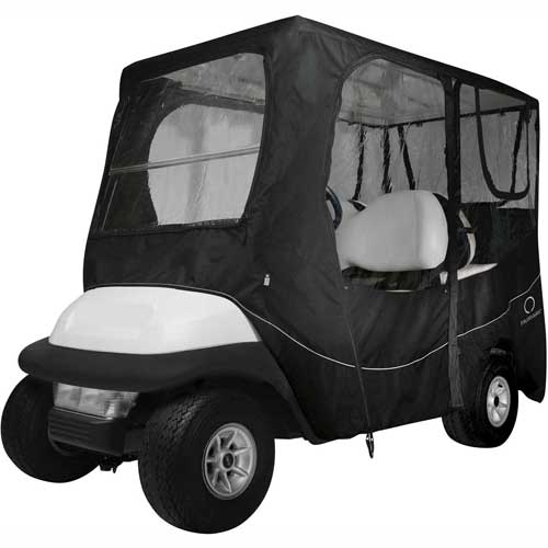 Classic Accessories Fairway Deluxe Golf Car Enclosure, Long Roof, Black 40-055-340401-00 by