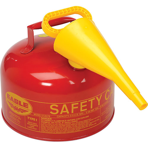 Eagle Type 1 Safety Can 2.5 Gallon with Funnel Red, Ul-25-FS by