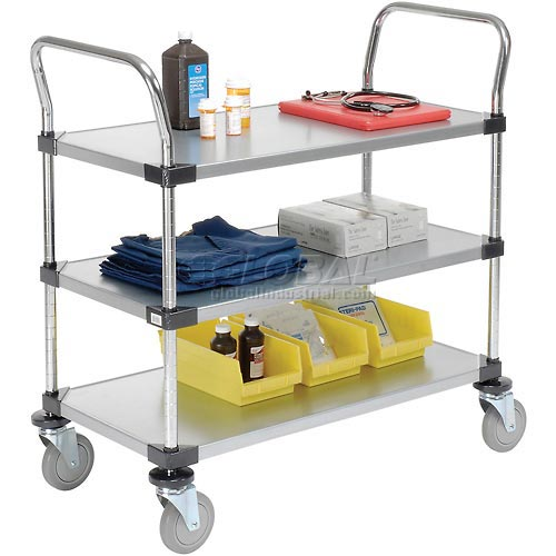 Nexel Galvanized Steel Utility Cart 3 Shelves 36x18 by