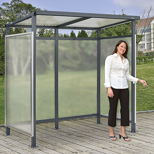 """Bus Smoking Shelter Flat Roof with Three Sided Open Front 6'5""""W x 3'8""""D x 7'H Gray  by"""