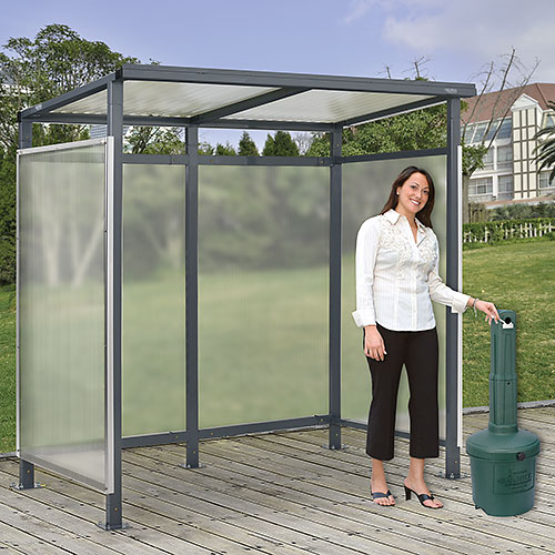 """Bus Smoking Shelter Flat Roof 3-Side Open Front With Green 5 Gallon Outdoor Ashtray 6'5""""x3'8""""x7' by"""