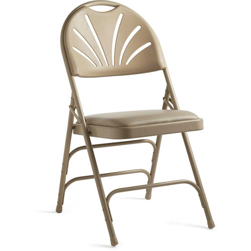 3000 Series Steel Fanback Padded Folding Chair Neutral/Beige by