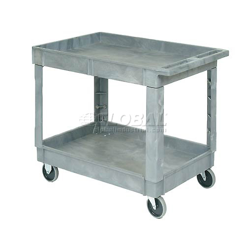 "Plastic 2 Shelf Tray Service & Utility Cart 40x26, 5"" Rubber Casters by"