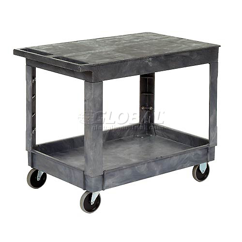 Best Value Plastic Flat Top Shelf Service & Utility Cart 5 Inch Rubber Casters by