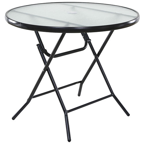 """OneSpace Basics 34"""" Round Glass Folding Patio Table Clear with Black Frame by"""