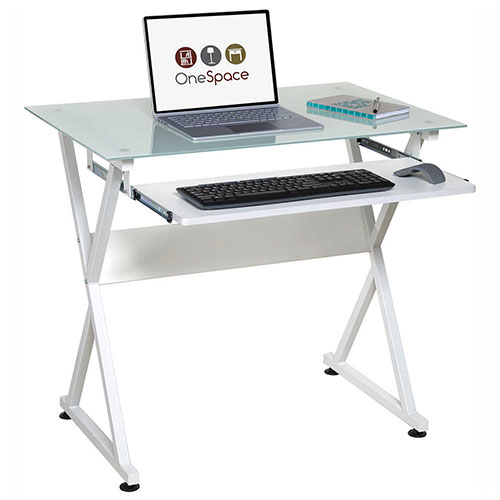 OneSpace 50-JN1201 Ultramodern Glass Computer Desk, with Pull-Out Keyboard Tray, White by