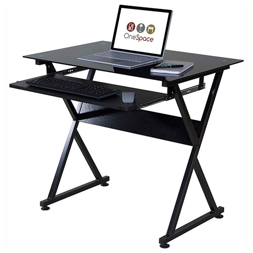 OneSpace 50-JN1205 Ultramodern Glass Computer Desk, with Pull-Out Keyboard Tray, Black by