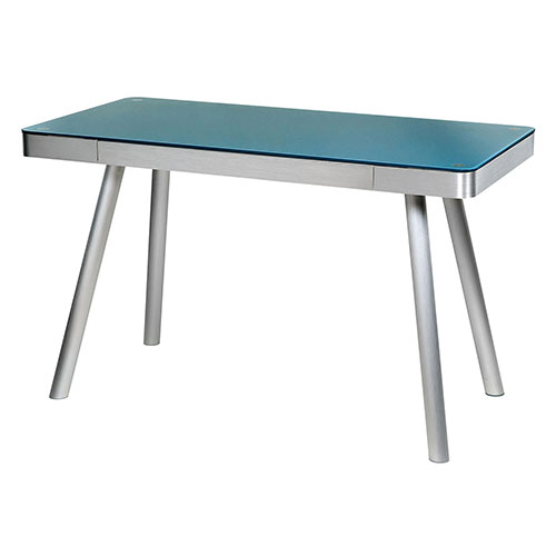 OneSpace 50-JN1407 Glass Computer Desk with Brushed Aluminum Frame, Cool Blue by