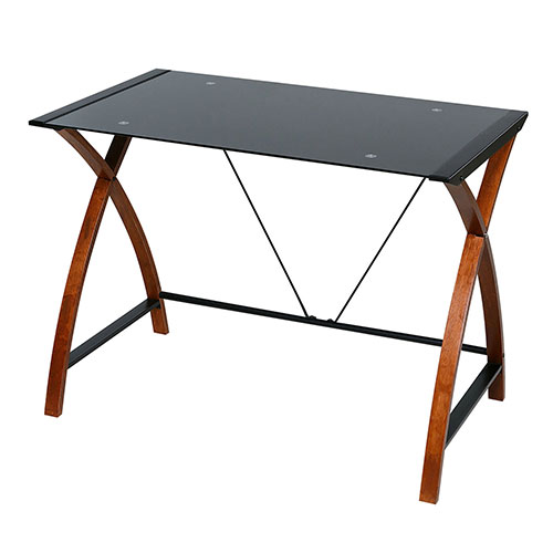 OneSpace 50-JN15B05 Glass and Wood Computer Desk, Black by