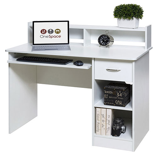 OneSpace 50-LD0101 Essential Computer Desk, Hutch with Pull-Out Keyboard, White by