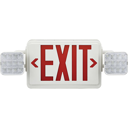 Buy Global Combo LED Emergency Exit Sign, Red Letters w/ Battery Backup, Ceiling & Wall Mount