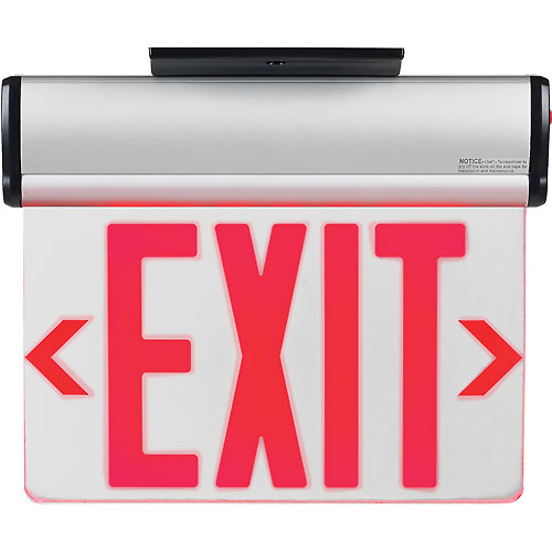 Buy Global Surface Mount LED Edge Lit Exit Sign, Red Letters w/ Nickel-Cadmium Battery Backup, UL