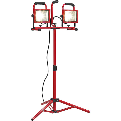 Global Portable Dual LED Worklight Floodlights w/Tripod, 20Wx2, 3600 Lumens, IP65, 4000K, Red by