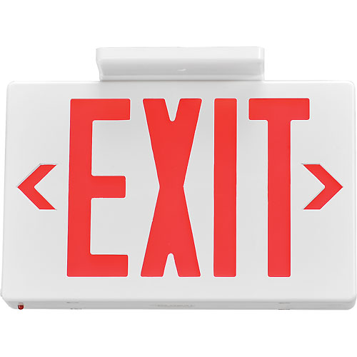 Buy Global LED Exit Sign, Red Letters, Universal Mount w/ Battery Backup, White, 1 or 2 Sides