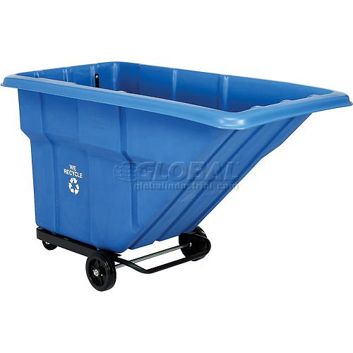 Blue Recycling Tilt Truck 1 Cubic Yard and 1000 lb. Capacity by
