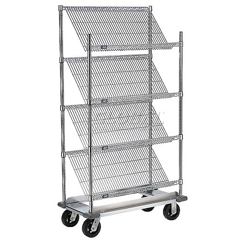 "Slant Wire Shelving Truck 4 Shelves With Dolly Base 48""W x 24""D x 70""H by"