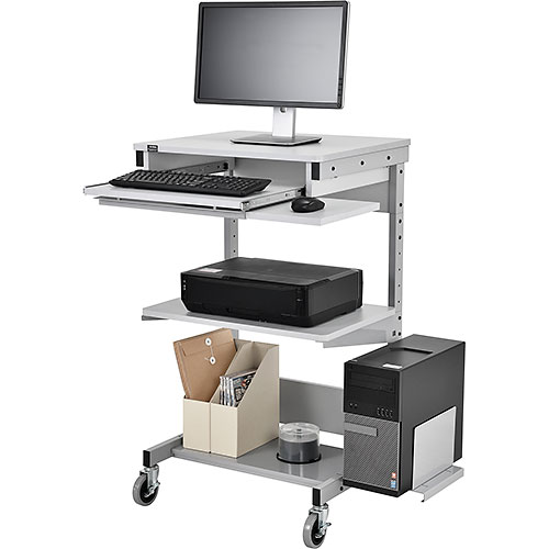 Click here to buy Mobile Computer Workstation with Printer Shelf and CPU Holder, Gray.