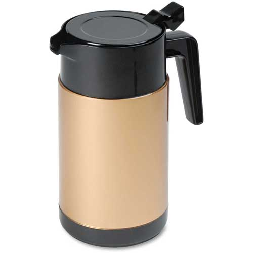 Click here to buy Poly Lined Black/Gold Carafe with Snap-Off Lid, 40 oz. Capacity.