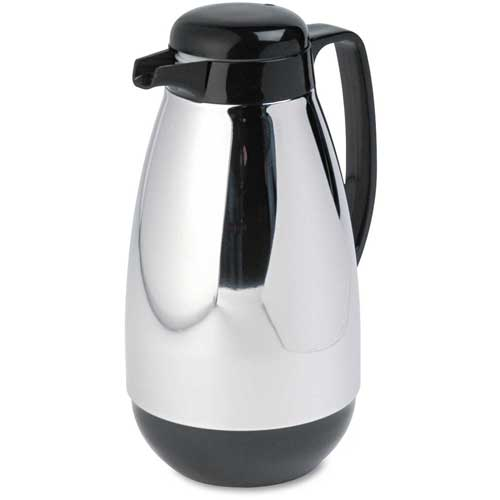 Glass Lined Chrome-Plated Carafe, 1-Liter Capacity, Black Trim by