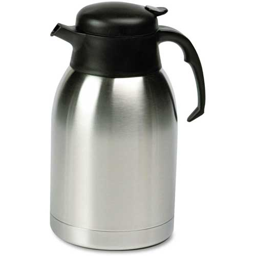 Stainless Steel Lined Vacuum Carafe, 1.9 Liter, Satin Finish/Black Trim by