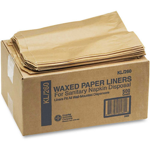 Hospeco Kraft Waxed Paper Napkin Receptacle Liner, 500/Case HOS260 by