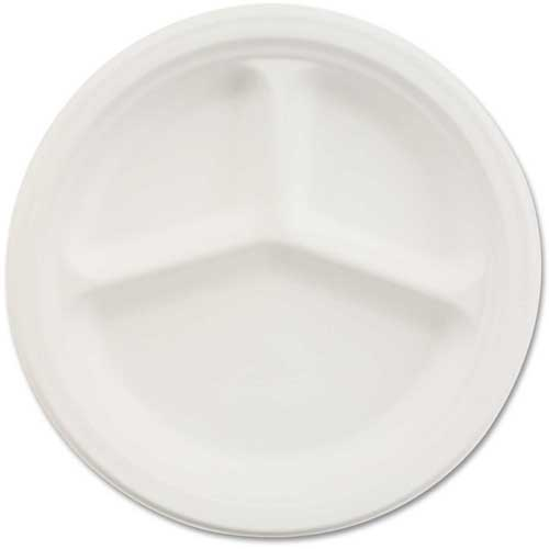 "Chinet Paper Plate, 10-1/4"" Round, 3-Compartment, 500/Carton, White by"