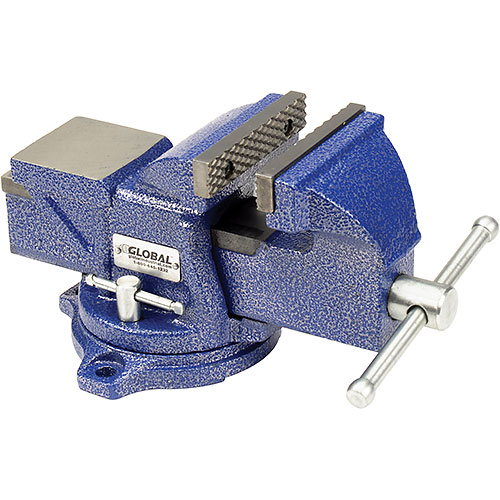 "Click here to buy Global Industrial 4"" Jaw Width 2-1/4"" Throat Depth General Purpose Bench Vise W/ Swivel Base."