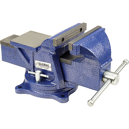"Click here to buy Global Industrial 6"" Jaw Width 3"" Throat Depth General Purpose Bench Vise W/ Swivel Base."