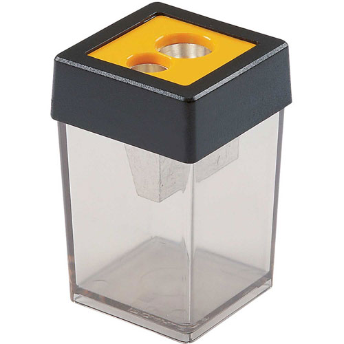 Dahle Double Canister Pencil Sharpener, Gray/Yellow Package Count 10 by