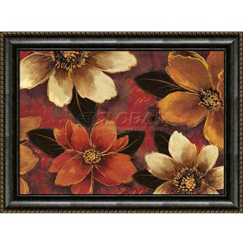 "Click here to buy Crystal Art Gallery Framed Canvas w/Foil Mona Lisa Floral 40""W x 30""H, Straight Fit Framed."