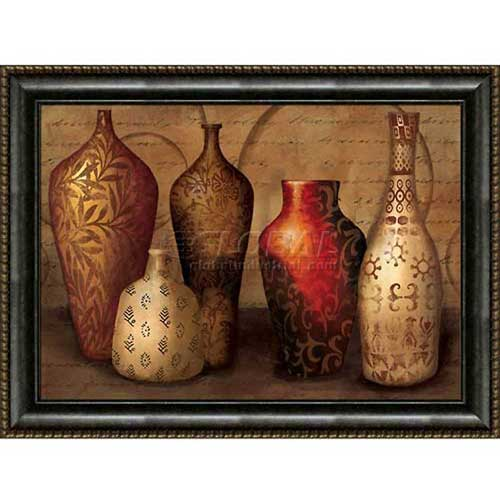 "Click here to buy Crystal Art Gallery Framed Canvas w/Foil Spice Vessels 40""W x 30""H, Straight Fit Framed."