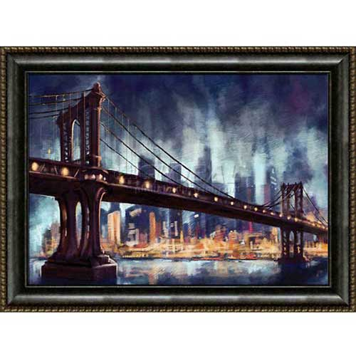 "Click here to buy Crystal Art Gallery Framed Canvas w/Foil Bridge 40""W x 30""H, Straight Fit Framed."