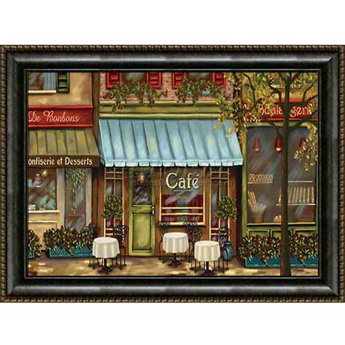 "Click here to buy Crystal Art Gallery Framed Canvas w/Foil Café Scene 40""W x 30""H, Straight Fit Framed."