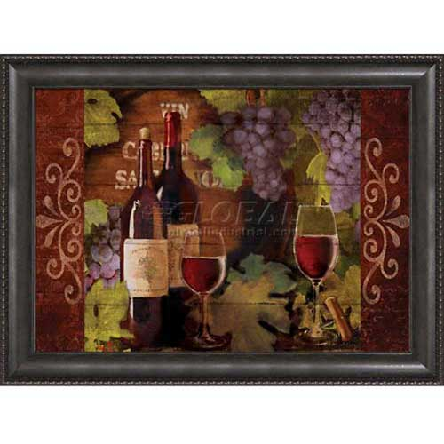 "Click here to buy Crystal Art Gallery Framed Canvas w/Foil Wine Bottle Mate 40""W x 30""H, Straight Fit Framed."