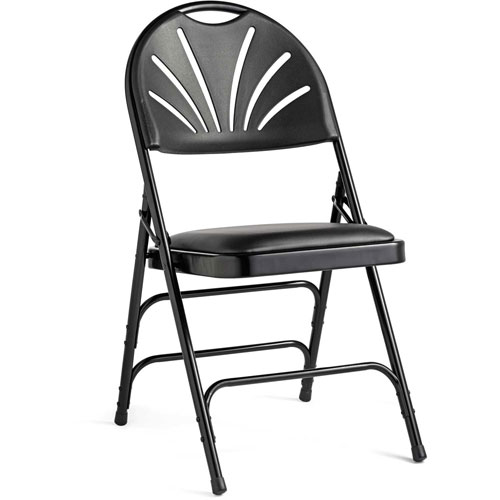 3000 Series Steel Fanback Padded Folding Chair, Leather & Memory Foam Padding Black/Black by