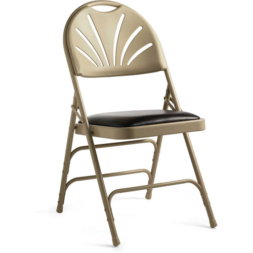 3000 Series Steel Fanback Padded Folding Chair, Leather & Memory Foam Padding... by