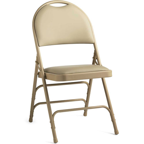 Comfort Series Steel Fanback Padded Vinyl Folding Chair Neutral/Neutral by