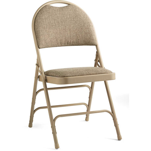 Comfort Series Steel Fanback Padded Fabric Folding Chair Neutral/Beige by