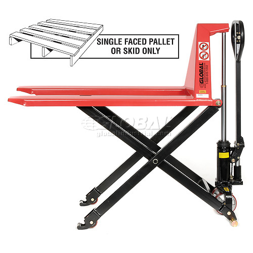 Manual High-Lift Skid Jack Truck 2200 Lb. Capacity 27 x 45 Forks by