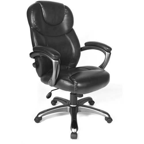Granton Leather Chair With Adjustable Lumbar Support, Black by