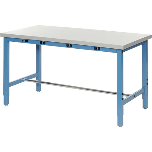 "60""W x 24""D Lab Bench with Power Apron Plastic Laminate Square Edge Blue by"